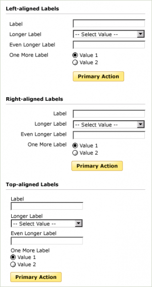 Example of forms with top, right, and middle label alignments